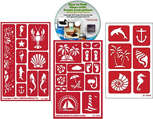 Nautical Stencil (3) Pack of Beach , Palm Tree, Sea, Shells, Mermaids, Anchor, etc: Over N Over Reusable + How to Etch CD by Armour