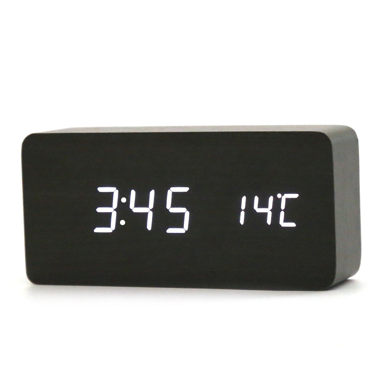 LED Digital Sveglia in legno Touch Sensore sonoro Controllo vocale Luce notturna Grande display Temperatura Calendario Alimentato USB / AAA Batteria Orologio moderno per Home Office (nero-bianco) Niceemo