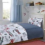 Little Explorers Quilt Set Bedspread Robots, Airplanes, Space Children Kids Tweens (Airplanes, Twin)