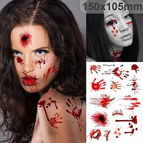Toonol Halloween Zombie Scars Tattoos With Fake Scab Bloody Costume Makeup Halloween Decoration Terror Wound Scary Blood Injury Sticker,10pcs -