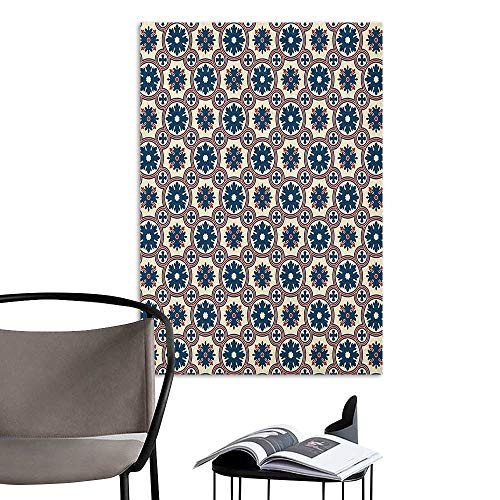 Camerofn Art Decor 3D Wall Mural Wallpaper Stickers Floral Ornate Silhouettes Pattern with Circle Abstract Vintage Design Inspiration Ruby Beige Navy Blue Elevator Stairs Wall W24 x ()