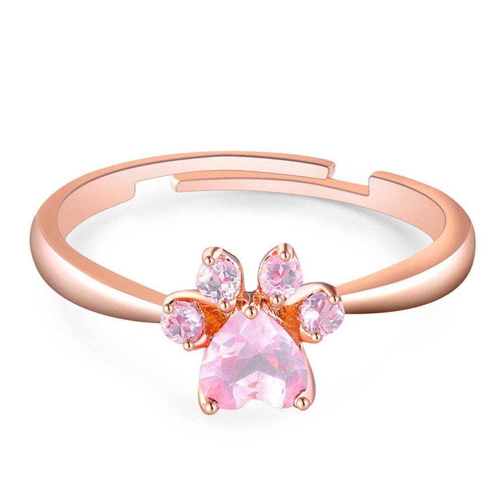 Mrsrui Dog Paw Pink Crystal Dogpaw Engagement Promise Ring Statement Jewelry Dog Lovers | Amazon.com