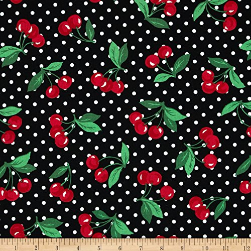 Michael Miller Cherry Dot Black Fabric By The Yard - Cherry Cotton Fabric
