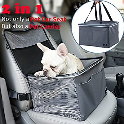 A4Pet Portable Dog Car Seat Travel Carrier Bag with Safety Leash and Cozy Pad