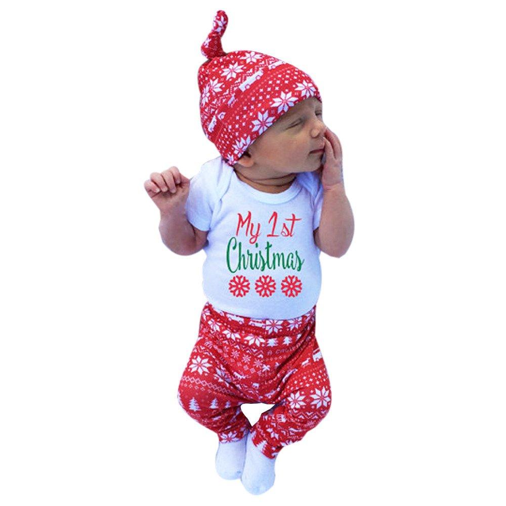 Milktea Neugeborenes Sä uglingsbaby-Mä dchen-Spielanzug Weihnachten Kleidung Set Babyklamotten Stü ck Kinderkleidung Outfits Sä ugling Anziehsachen Beschriftung Tops + Hosen + Hut Unisex Baby