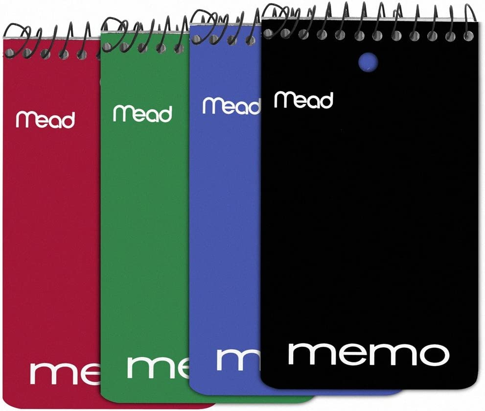 Mead Wirebound Memo Book, College Ruled, 3 x 5 Inches, Black, Red, Blue and Green, 60 Sheet Pad, 12 per Pack (45749)