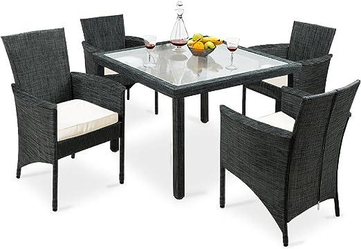 SSITG Asiento Grupo 9 piezas sillas mesa silla Muebles de Jardín Mesa de cristal: Amazon.es: Jardín