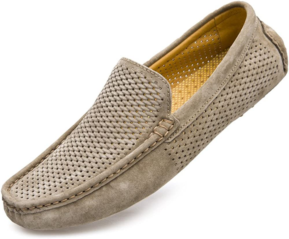 MXL Mens Drive Loafers for Casual Leather Frosted with Breathable Flat Soles Boat Moccasins