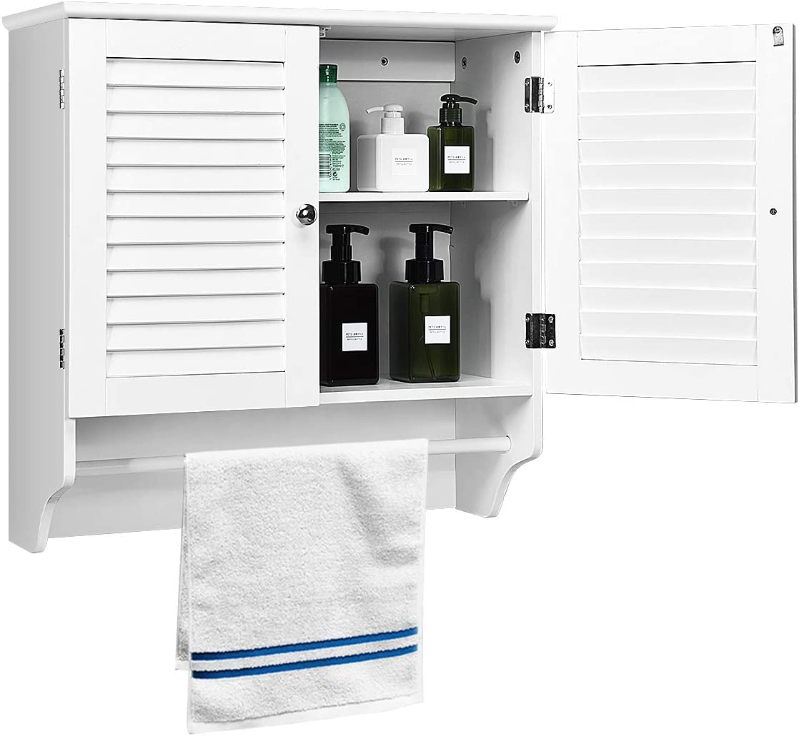 Tangkula Bathroom Wall Mounted Cabinet, Hanging Bathroom Cabinet with Adjustable Shelf, Medicine Cabinet with Two Louvered Doors White