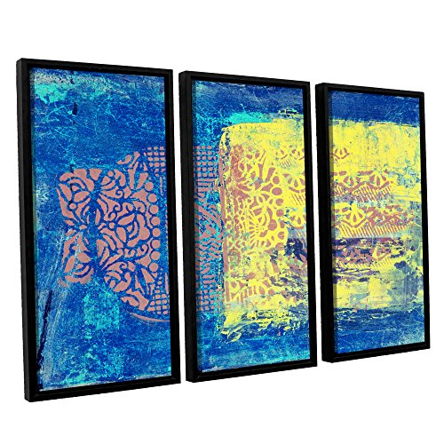 """Elana Ray's Blue with Stencils 3 Piece Floater Framed Canvas Set, 36 x 54"""""""