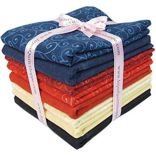 Fabric 4 Fat Quarters (Moda Marbles and Swirls, Half Yard Fabric Bundle. 4 Yards with 8 Assorted Prints)