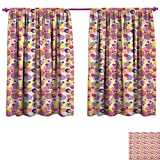 homefeel Pastel Window Curtain Drape Memphis Style Pop Art Pattern with Striped Circles