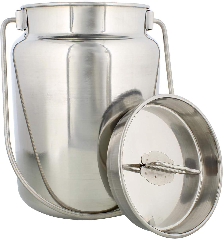 Rural365 Metal Milk Jug, 4 Liter (1 Gal) - Stainless Steel Jug, Rustic Milk Cans with Lid, Old Fashion Milk Jug Vases