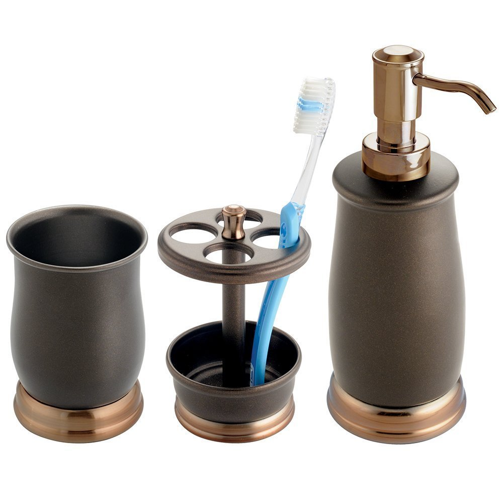 3 pc metal bath accessory set soap dispenser toothbrush for Bathroom soap dispensers bath accessories