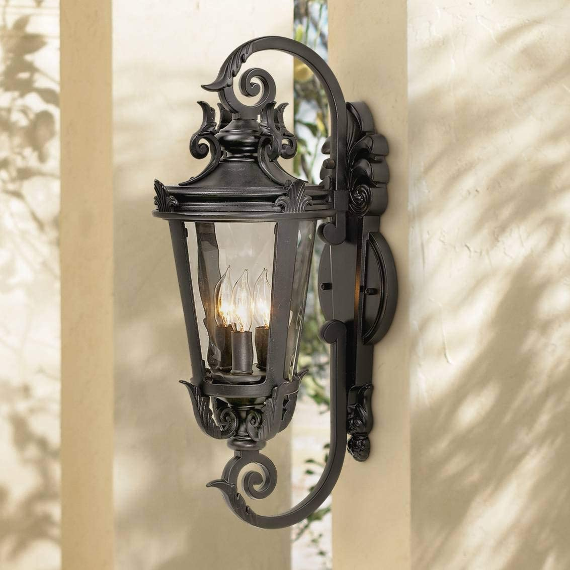 Casa Marseille Traditional Outdoor Wall Light Fixture Mediterranean Black Double Scroll Arm 21 1 2 Clear Hammered Glass for Exterior Porch Patio – John Timberland