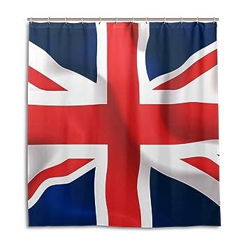 CPYang Cortinas de Ducha Bandera del Reino Unido Union Jack Resistente al Agua Molde Cortina de baño decoración del hogar 168 x 182 cm con 12 Ganchos: ...
