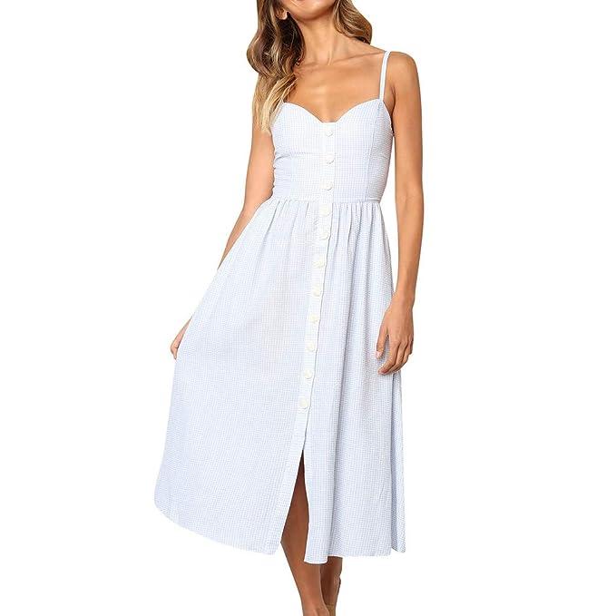 92b48c52e9 Women's Sexy Sundress Summer Spaghetti Strap Sleeveless Maxi Dress Vintage  Plaid Print Bohemian Button Down Ruffle