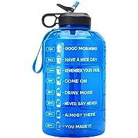 Suwei Grote 1 gallone motiverende waterfles, draagbare sportwaterfles - lekvrij/BPA-vrije sportwaterkan met tijdstempel