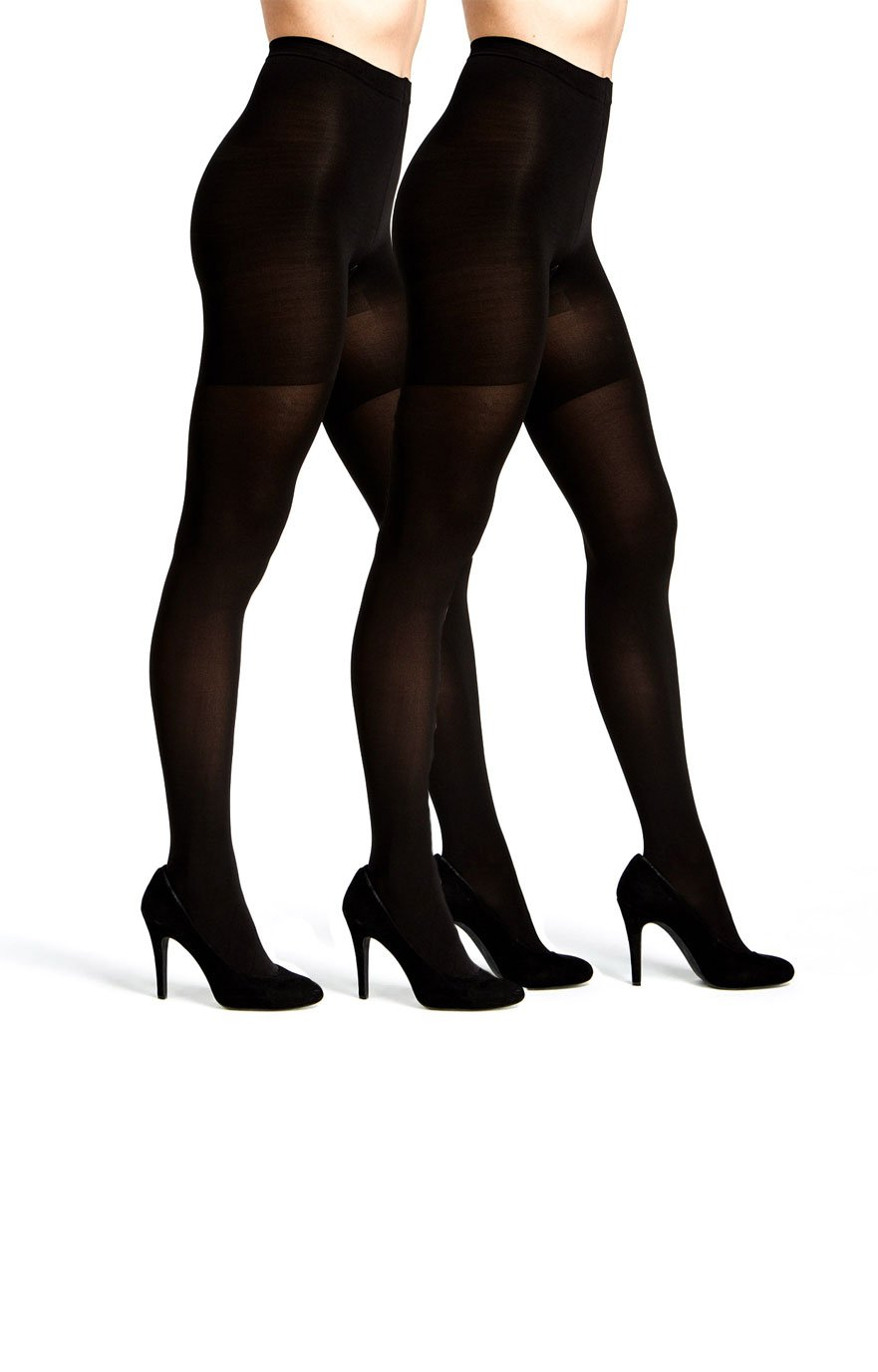 Womens Control Top Opaque Tights 2 Pack Black available in Regular and Plus size (M/L, 2 PK Black)