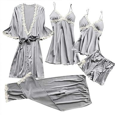 DressLksnf Lencería Mujer Atractiva Pijama de Dormir Elegante Veitido de Noche Encaje Lace Perspectiva Tentación Conjunto de Braga Original Traje de ...