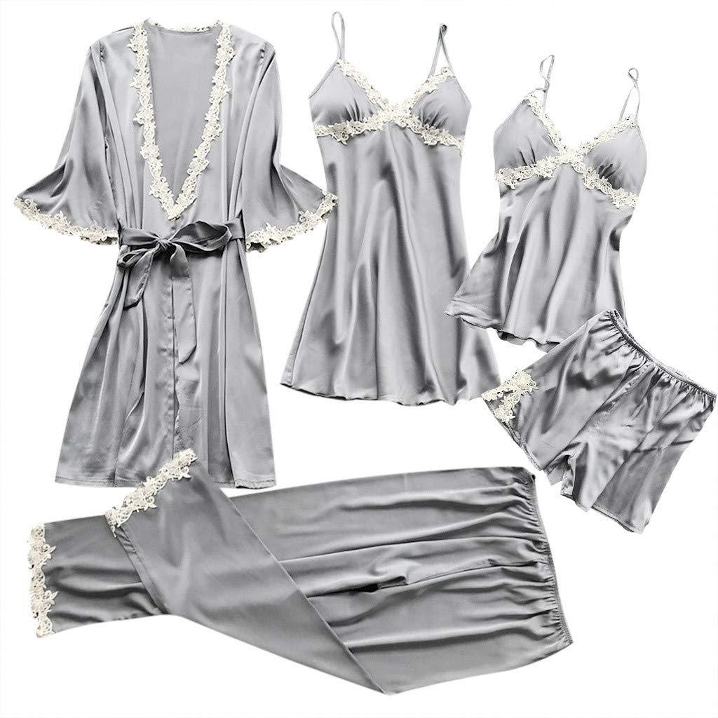 Amphia - Damen Pyjamas/Pyjamahosen/Nachthemden / 5 Sets - Frauen Sexy Dessous Nachtwäsche Unterwäsche Babydoll Nachtwäsche Kleid 5PC Anzug
