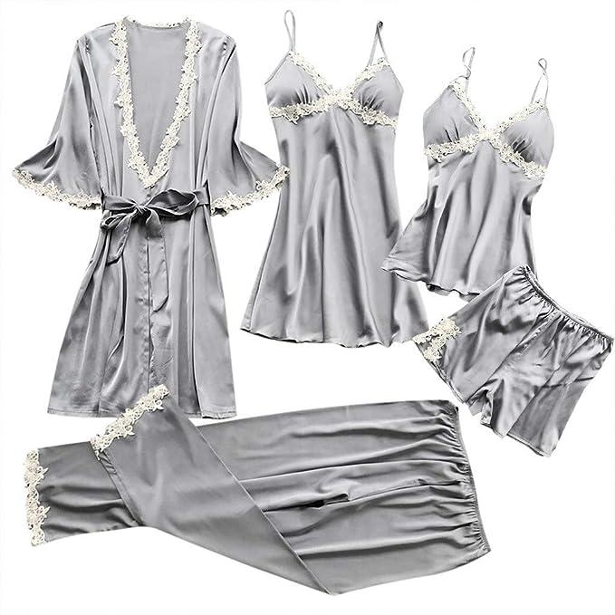 Internet_Mujer Sexy Tamaño Grande Vestido de Pijama + Camisola + Shorts + pantalón + Albornoz de 5 pcs,Escotado Lace Lenceria de Chaleco,Babydoll Ropa de ...