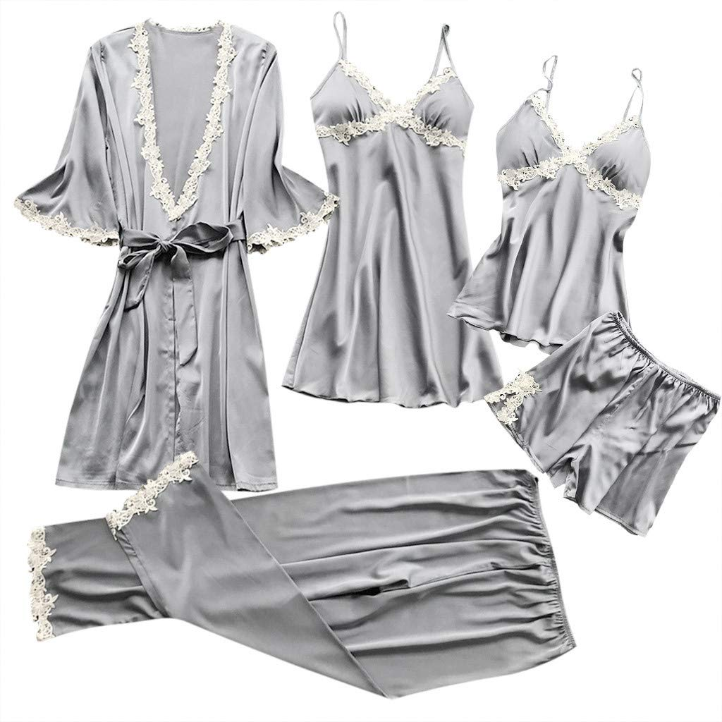 Women's Sexy Lace Lingerie Satin V-Neck Nightwear Babydoll Sleepwear Robe Dress Kimono Set 5PCs Pajamas Set (Gray, XL)