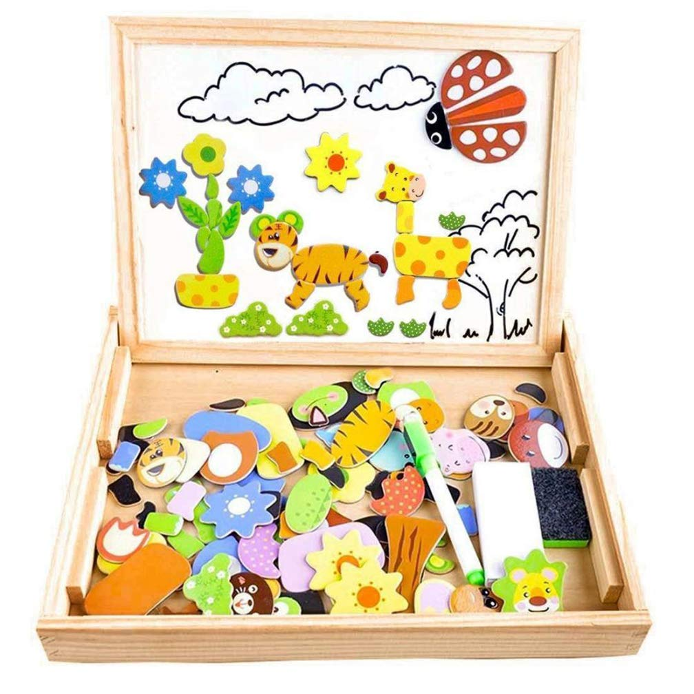 4 Pack Two-Sided Wooden Jigsaw Puzzles for Toddler Kids Age 3 4 5 6 7