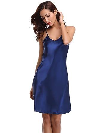 f257886eeb Aibrou Damen Sexy Negligee Nachthemd Satin Nachtkleid Nachtwäsche  Unterwäsche Sleepwear Kurz Trägerkleid V Ausschnitt Blau S