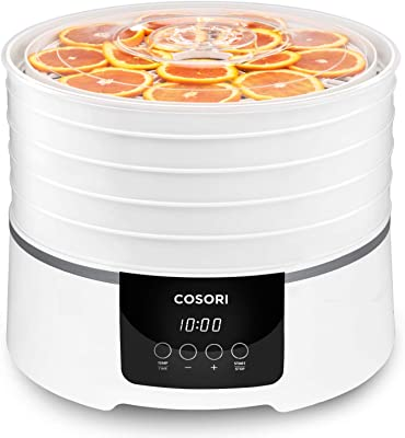 COSORI Food Dehydrator Machine (50 Recipes), Dryer for Fruit, Meat, Beef Jerky, Christmas Decorations, Herbs, Dog Treats, 5 BPA-Free Trays, with Timer and Temperature Control, ETL Listed, CO165-FD