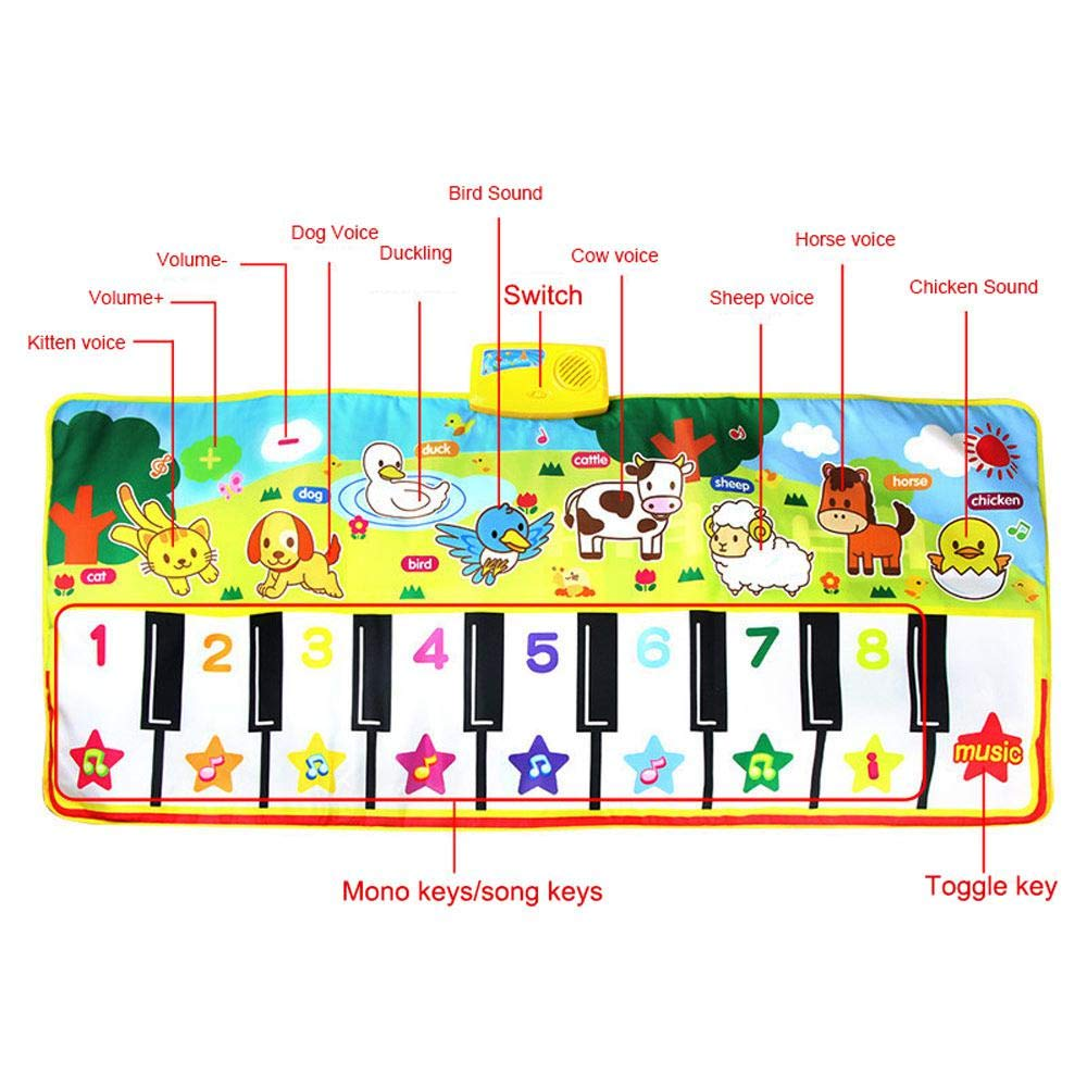 lesgos Piano Mat, Kids Colorful Electronic Dance Music Mat Toy, 19 Keys Educational Keyboard Playmat Musical Carpet Blanket for 3-6 Year Old Toddler Girls Boys by lesgos (Image #3)