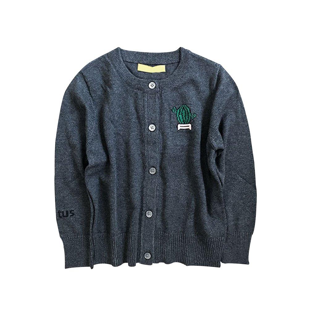 Boys Girls Cotton Knit Sweater Children's Cardigan Sweater Dark Grey 120cm