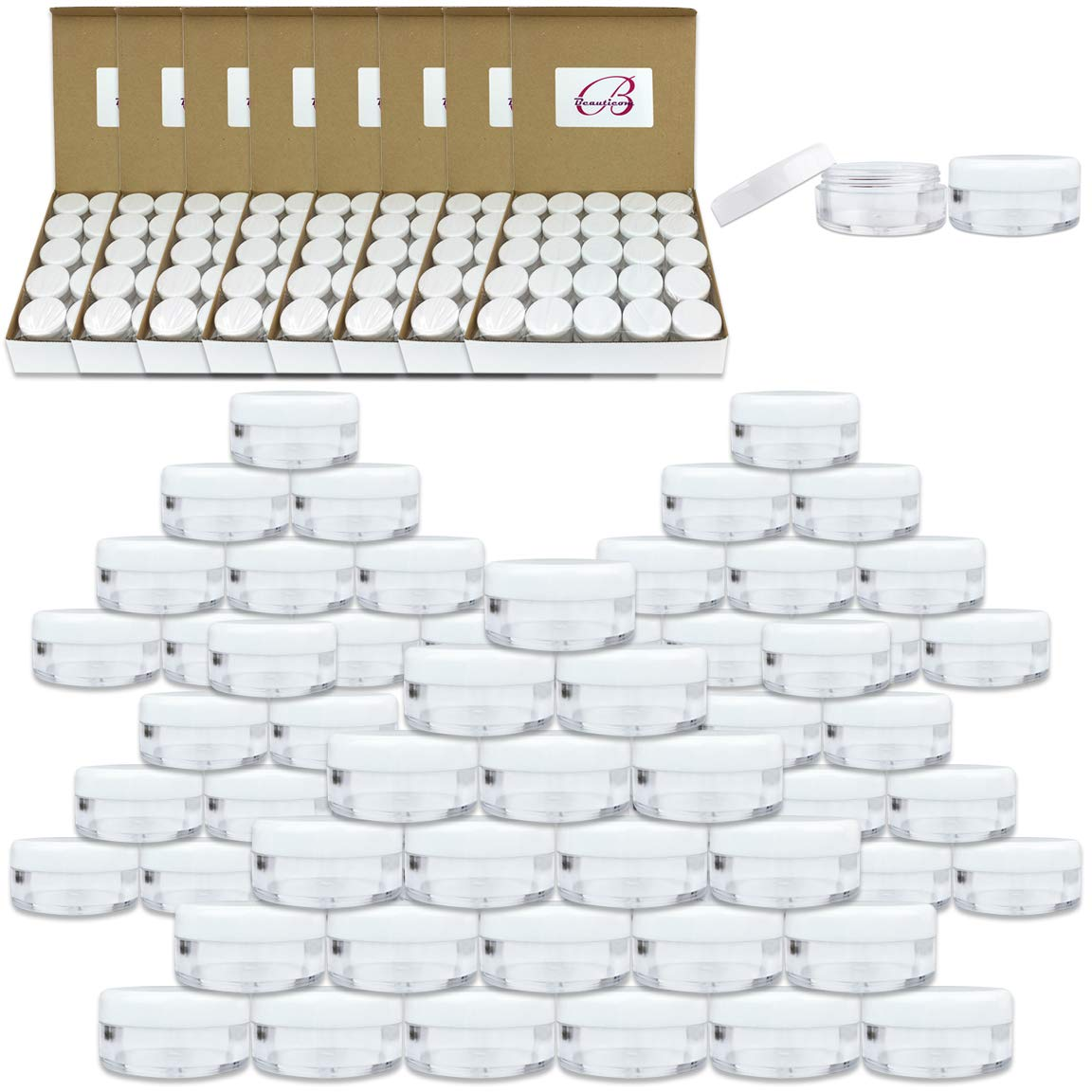(1000 Pcs) Beauticom 5G/5ML Round Clear Jars with White Lids for Scrubs, Oils, Salves, Creams, Lotions - BPA Free
