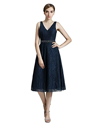 Clearbridal Womens Navy Blue Lace Tea Length Prom Dresses Elegant V-Back Evening Gown