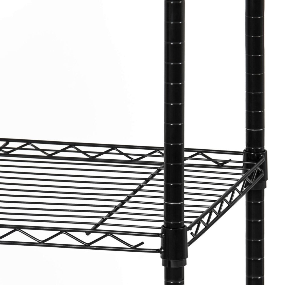 Durable Constructed 6-Tier Steel Shelving Storage Organizer Adjustable With Castor Wheels - Black Finish #1145 by Koonlert@shop (Image #3)