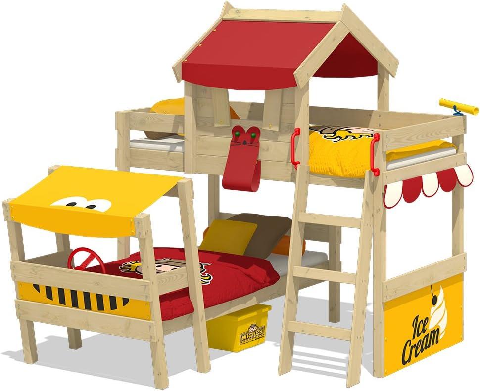 WICKEY lit pour enfant CrAzY Jungle design Safari 90x200 cm Lit superpos/é en plusieurs combinaisons de couleurs