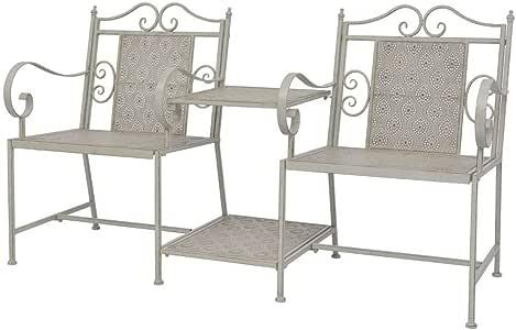 LD Jardín de Love Seat – Mobiliario para jardín balcón de terraza Acero Gris: Amazon.es: Jardín