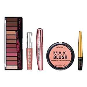 Rimmel Crimson Makeup Kit With Eyeshadow, Mascara, Liner, And Lip Gloss, 6 Fl Oz