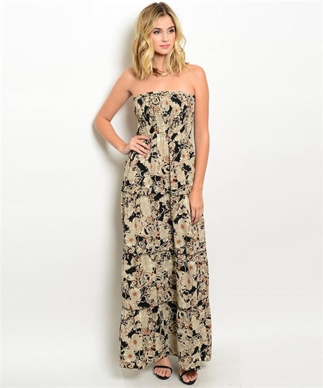 LI'L BLACK DRESS@ Strapless Smocked Empire Cut Maxi Dress