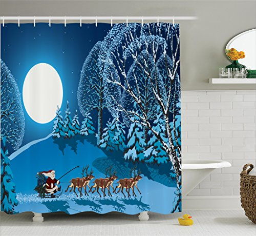 Shower Curtain, Santa in Sleigh a Night with Full Moon in The Sky Snowy Winter Xmas Theme Print, Fabric Bathroom Decor Set with Hooks, 75 inches Long, Navy Blue ()