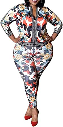 Women's Plus Size Two Piece Tracksuit Set Long Sleeve Zipper Jacket with Sweatpants Sweatsuit Jogger Workout Set