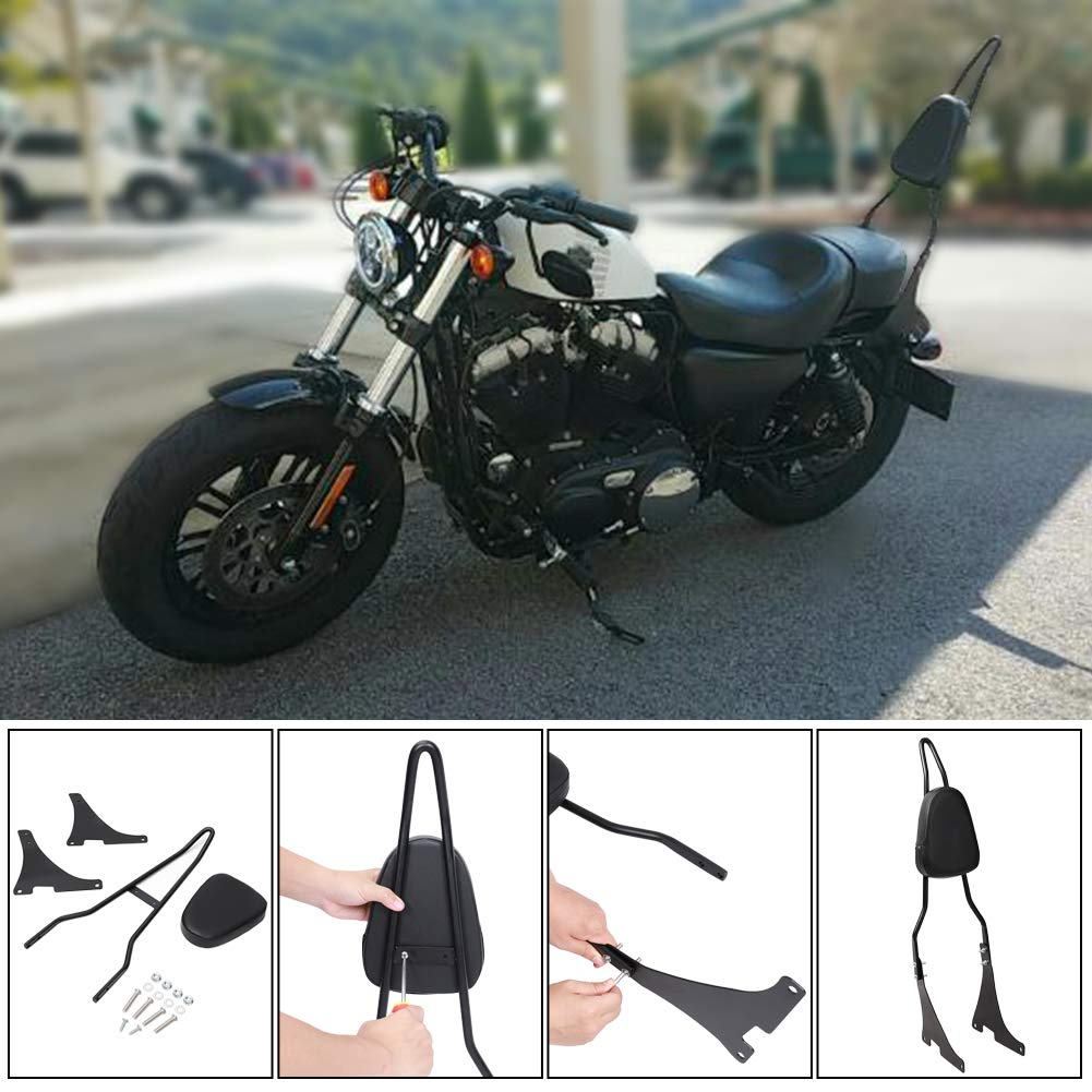 Motorcycle Rear Passenger Backrest with Detachable Sissy Bar PU Cushion Pad Fits for Harley Sportster XL883 XL1200 04-UP