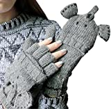 Cozy Design Woolen Knitted Elephant Gloves Mitten with Thumb Cover