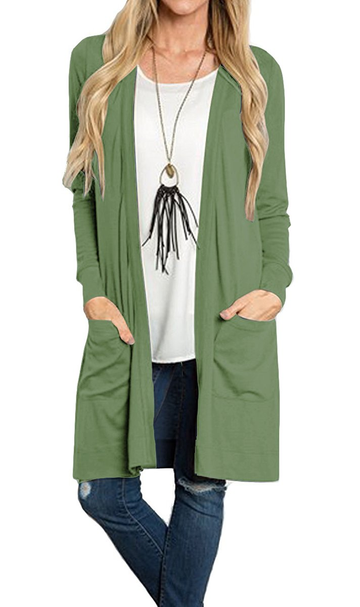 Tribear Women's Long Sleeve Open Front Loose Causal Lightweight Kimono Cardigan(ArmGreenk,X-Large)