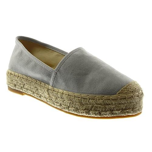 Angkorly - Zapatillas Moda Alpargatas Slip-on Mujer Cuerda Tacón Ancho 3.5 CM: Amazon.es: Zapatos y complementos