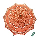 TopTie Lace Umbrella Parasol Wedding Bridal Photograph For Decoration Halloween Costume Accessories-Orange