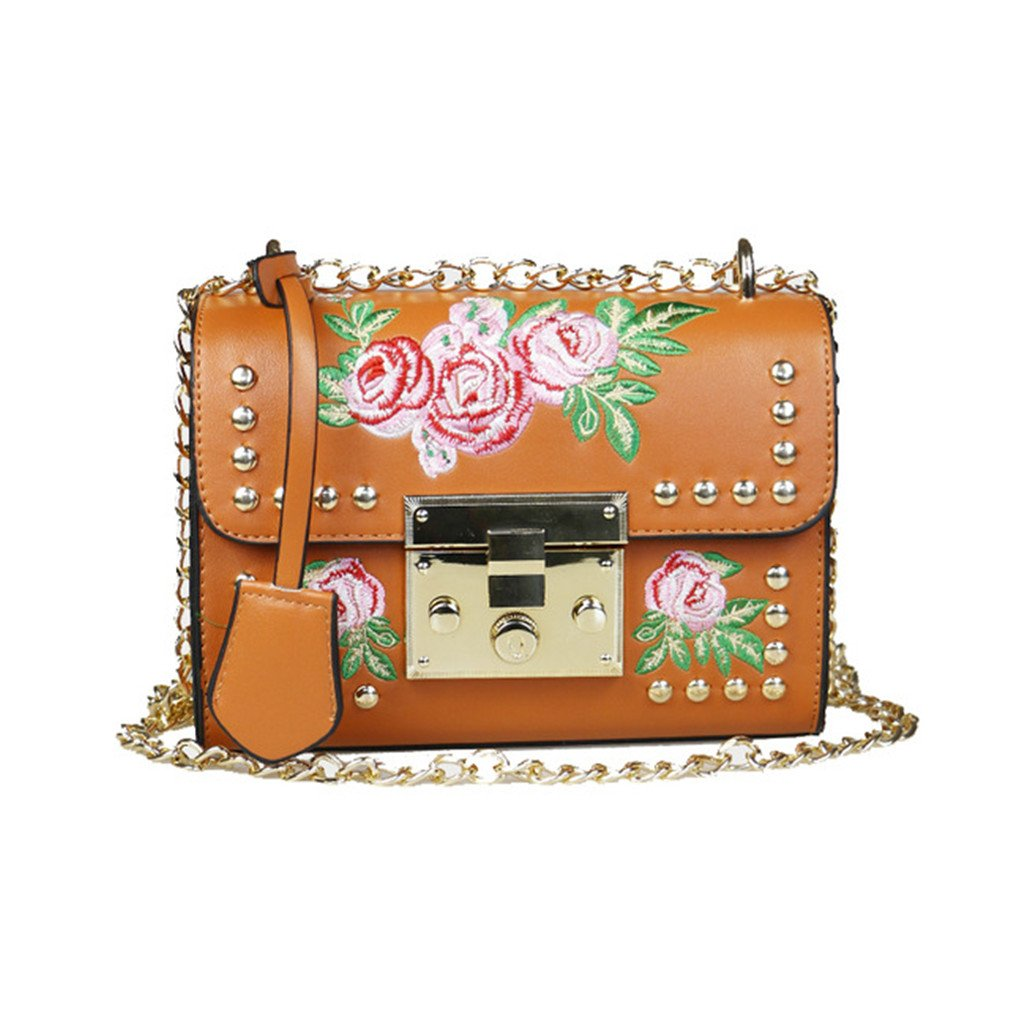 Amazon.com: Women Embroidery Flower Flap Bag PU Leather Rivet Messenger Bags Ladies Small Shoulder Bag brown: Clothing
