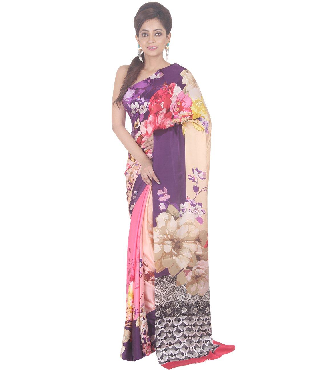 Indian Ethnic Crepe Multicolour Printed Saree