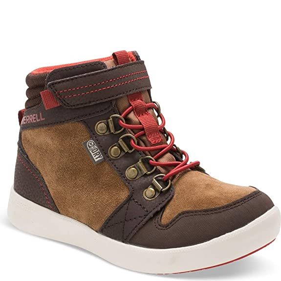 Merrell Freewheel Mid Waterproof Fashion Boot (Little Kid/Big Kid), Brown, 4 Medium US Big Kid