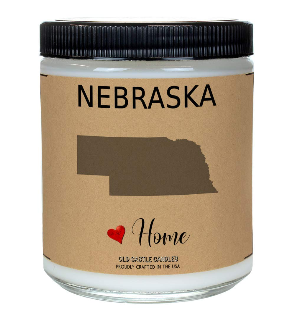 Nebraska Candle, Homesick Gift, Personalized College Dorm Decor, 8oz by Old Castle Candles